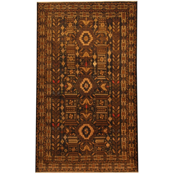 Herat Oriental Afghan Hand-knotted Tribal Balouchi Wool Area Rug (3'10 x 6'6)