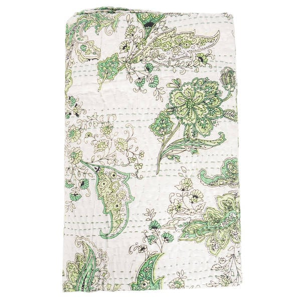 Vintage Kantha Indian Handmade Green Floral Throw Bedspread (India)