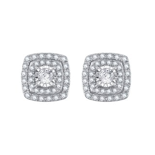 Divina 10k White Gold 1ct TDW Diamond Halo Stud Earring (I-J, I2-I3)