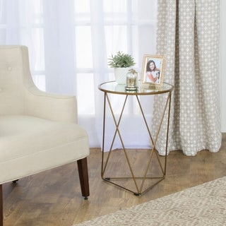 Homepop Metal Accent Table Triangle Gold Base Round Gl