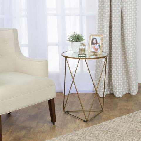 HomePop Metal Accent Table Triangle Gold Base Round Glass Top