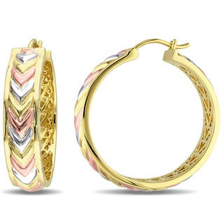 Miadora 18k Tri-color Yellow and Rose Gold Plated Sterling Silver Zig Zag Hoops Earrings