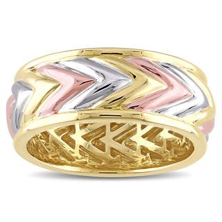 Miadora Tri-Color Yellow And Rose Gold Plated Sterling Silver Zig Zag Ring|https://ak1.ostkcdn.com/images/products/12253325/P19094598.jpg?impolicy=medium