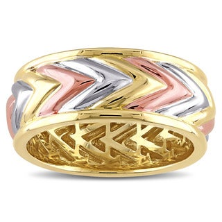 Miadora Tri-Color Yellow And Rose Gold Plated Sterling Silver Zig Zag Ring