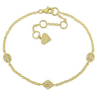 Miadora 14k Yellow Gold Diamond Accent Charm Station Bracelet