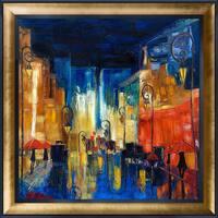 Justyna Kopania 'Street' Hand Painted Framed Canvas Art