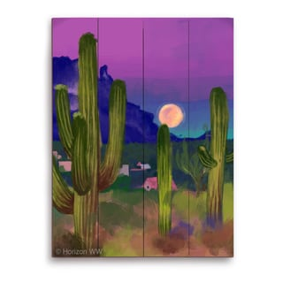 'Rising Moon in the Desert' Wall Graphic on Wood