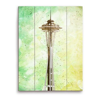 Space Needle Green' Multicolored Wood Wall Graphic