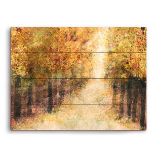 Yellow Fall Forest' Multicolored Wood Wall Graphic