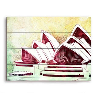 'Sydney Opera House Green' Wall Graphic on Wood (More options available)