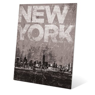 Distressed Skyline - NYC' Metal Wall Graphic
