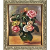 Pierre-Auguste Renoir 'Bouquet of Roses' Hand Painted Framed Canvas Art