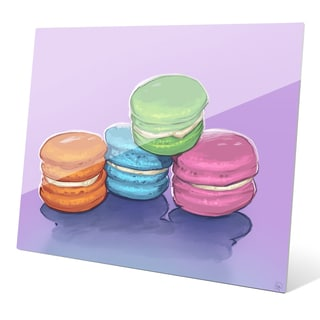 'Four Macaroons on Lilac' Acrylic Wall Graphic