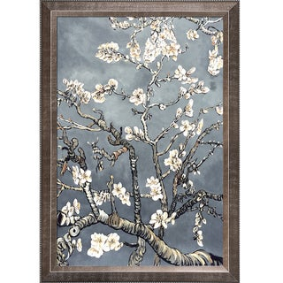 La Pastiche Original 'Branches of an Almond Tree in Blossom, Pearl Grey' Hand Painted Framed Canvas Art