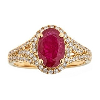 Anika and August 18k Yellow Gold Thai Ruby and 2/5ct TDW Diamond Ring (G-H, I1-I2)