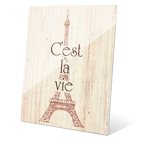Rouge Eiffel Tower - C'est La Vie' Multicolored Acrylic Wall Graphic