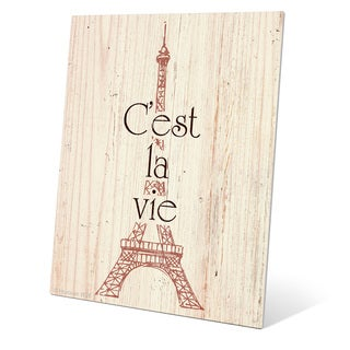 'Rouge Eiffel Tower - C'est la Vie' Wall Graphic on Metal
