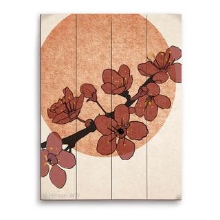 'Dark Cherry Blossoms' Wood Wall Graphic