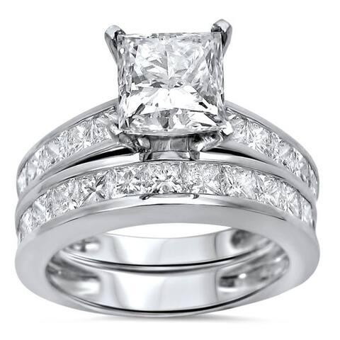 14k White Gold 2 7/8ct TDW Princess-cut Clarity Enhanced Diamond Bridal Set