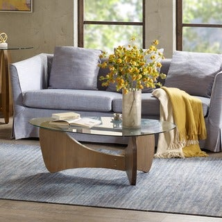 Madison Park Abel Natural Glass Top Coffee Table
