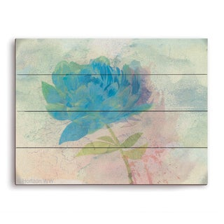 'Azure Peony' Wall Graphic on Wood