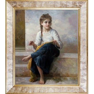 William-Adolphe Bouguereau 'The Dressmaker, 1898' Hand Painted Framed Canvas Art