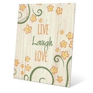 'Flowery Live Laugh Love Orange' Metal Wall Graphic