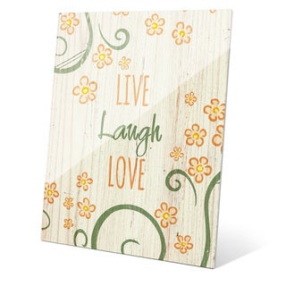 'Flowery Live Laugh Love Orange' Acrylic Wall Graphic on Acrylic