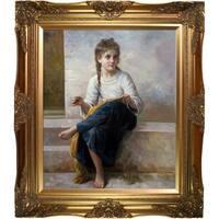 William-Adolphe Bouguereau 'The Dressmaker, 1898' Hand Painted Framed Canvas Art