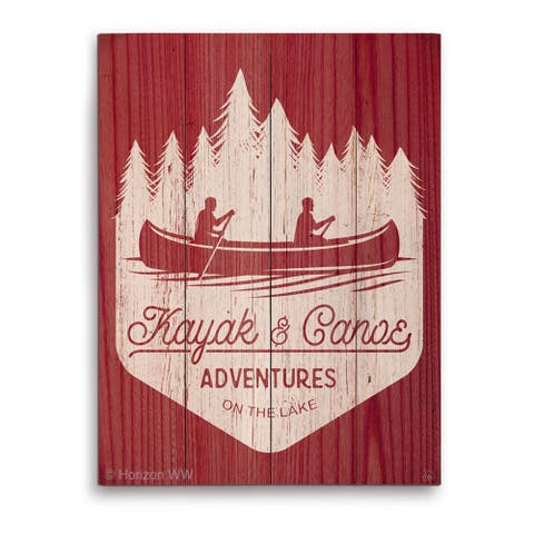 'Kayak and Canoe Adventures - Warm' Wooden Wall Graphic