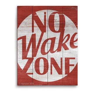 No Wake Zone Red' Wood Wall Graphic