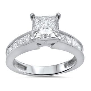 14k White Gold 2 1/10ct TDW Princess Cut Diamond Engagement Ring