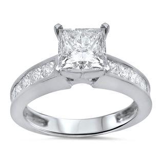 Noori 14k White Gold 2 1/10ct TDW Princess Cut Diamond Engagement Ring