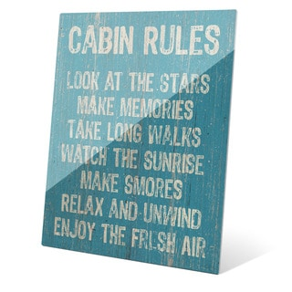 'Cabin Rules' Blue Wall Graphic on Glass