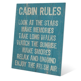 Cabin Rules Blue' Multicolored Metal Wall Graphic on Metal