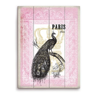 'Peacock (Paris) - Pink' Wall Graphic on Wood
