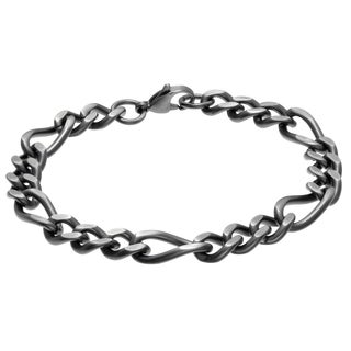 Antique Finished Stainless Steel Figaro Chain Bracelet