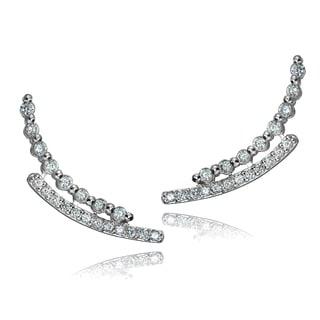 Icz Stonez Sterling Silver Cubic Zirconia Crawler Hook Earrings