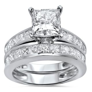 Noori 14k White Gold 3 1/10ct TDW Princess Clarity Enhanced Diamond Bridal Set (G-H, SI1-SI2)