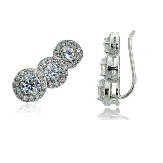 Icz Stonez Sterling Silver Cubic Zirconia Round-cut Crawler Hook Earrings