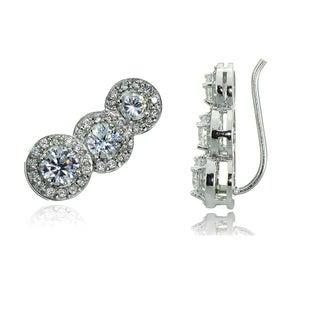 Icz Stonez Sterling Silver Cubic Zirconia Round-cut Crawler Hook Earrings