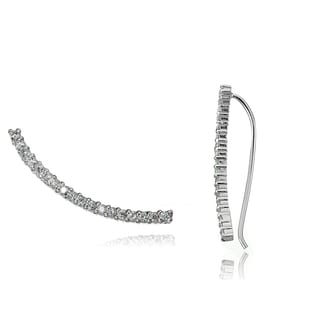 Icz Stonez Sterling Silver Cubic Zirconia Crawler Hook Earrings
