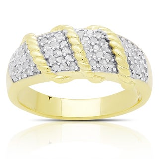 Finesque Gold Over Sterling Silver 1/2ct TDW Diamond Twist Design Ring