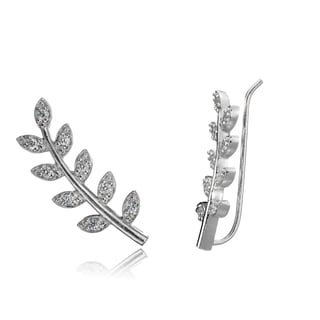 Icz Stonez Sterling Silver Cubic Zirconia Leaf Crawler Hook Earrings