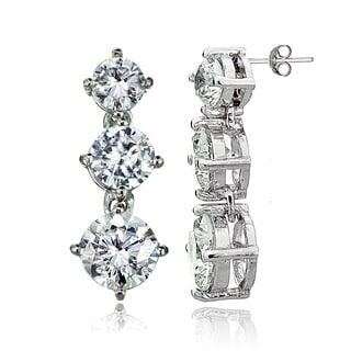 Icz Stonez Sterling Silver Cubic Zirconia 3-Stone Dangle Earrings