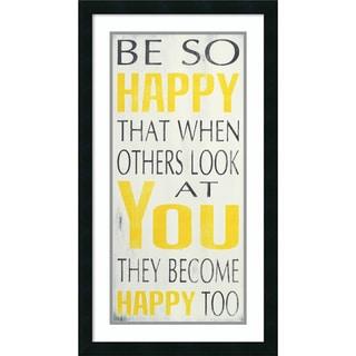 Framed Art Print 'Be So Happy' by Holly Stadler 18 x 32-inch