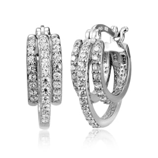 Icz Stonez Sterling Silver Cubic Zirconia 3-Row Hoop Earrings