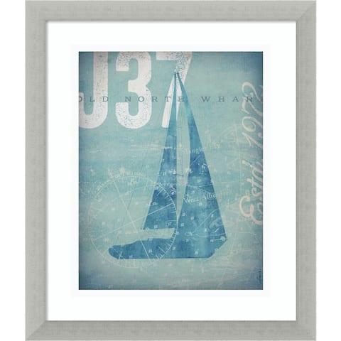 Framed Art Print 'Nautical III: Sailboat' by Stephen Fowler 16 x 19-inch