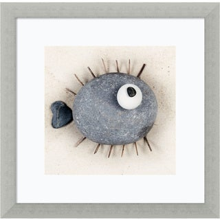 Framed Art Print 'Puffafish' by Ian Winstanley 13 x 13-inch