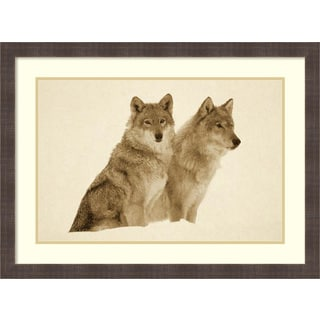 Framed Art Print 'Timber Wolf portrait of pair sitting in snow, North America - Sepia' by Tim Fitzharris 31 x 23-inch